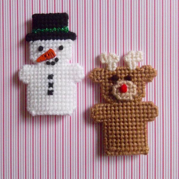"Plastic Canvas: Finger Puppets, ""Winter Friends (set of 2 -- reindeer and snowman, can be used as pencil toppers) by ReadySetSewbyEvie on Etsy"