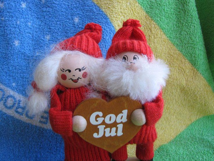 Sweden Ljungstroms wood doll Christmas figurine Gnome Tomte gift Santa God Jul