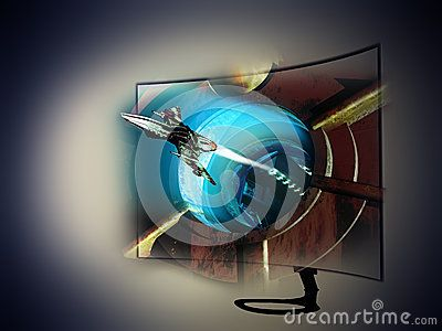 3D curved  television with  a science fiction frame where a spaceship is coming out from a spatial station and seems to come out of the screen.