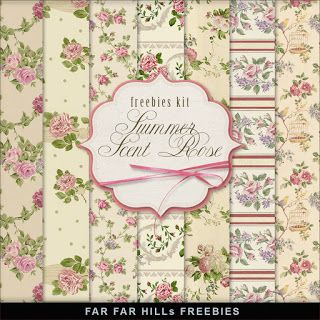 Freebies Vintage Style Kit of Paper - Summer Scent Rose