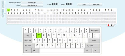 Typing Phase 2 - Practice typing full words and sentences with Keybr.com.  Can use custom phrases (perhaps history copy work?)