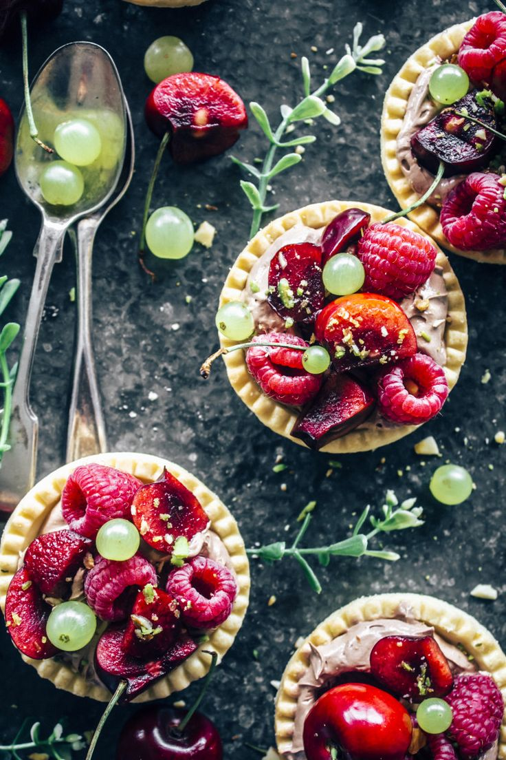 Chocolate cream tartlets with mixed summer berries.   Desserts | Fine Dining | Sweets