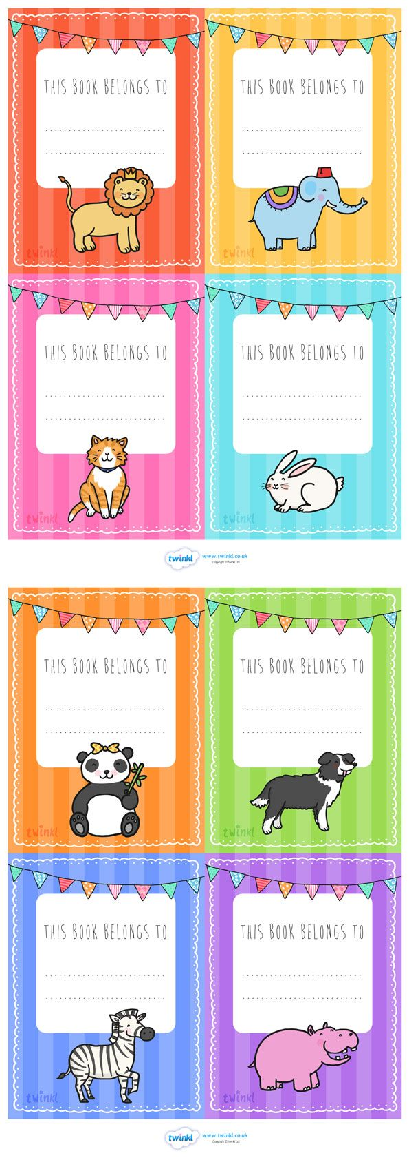 Twinkl Resources >> Animal Themed This Book Belongs To Labels  >> Thousands of printable primary teaching resources for EYFS, KS1, KS2 and beyond! this book belongs to, book labels, book name labels, animal themed, name labels, animal book, name labels, book, bunting,