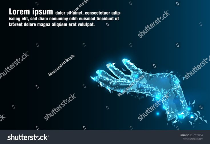 Abstract Technology background.Hand of Artificial intelligence.Low Poly wire frame technology.Futuristic concept.Cyber technology wire network futuris…