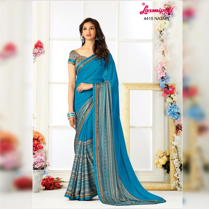Buy this Stunning Blue & Grey Georgette & Satin Silk Saree and Grey Blue Satin Silk Blouse along with Fancy Silk Lace Border by Laxmipati. Look fresh, look chic! Limited stock! 100% Genuine products!  #Catalogue #Zeeba #Design_Number: 4415 #Price - Rs. 1975.00  #Bridal #ReadyToWear #Wedding #Apparel #Art #Autumn #Black #Border #MakeInIndia #CasualSarees #Clothing ‪#ColoursOfIndia ‪#Couture #Designer #Designersarees #Dress #Dubaifashio