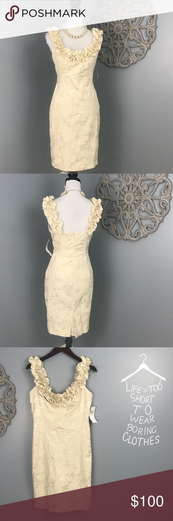 Maggie London | Exquisite Cream Cocktail Dress NWT Exquisite Maggie London Cream baroque cocktail dress.  Has rosettes around the front and back neckline.  NWT Maggy London Dresses