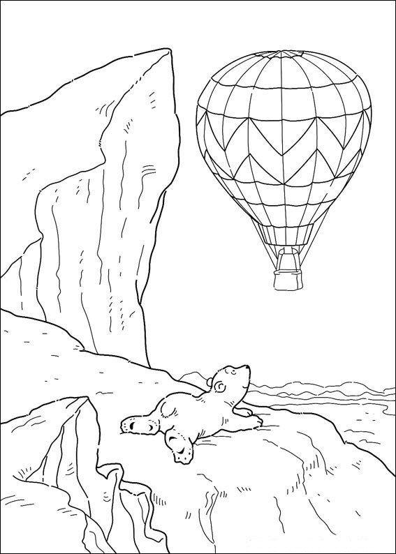 Print Kleine ijsbeer ziet luchtballon kleurplaat