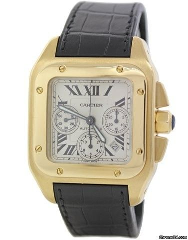 Cartier Santos 100 XL 2741 Chronograph 18k Yellow Gold 41mm Watch
