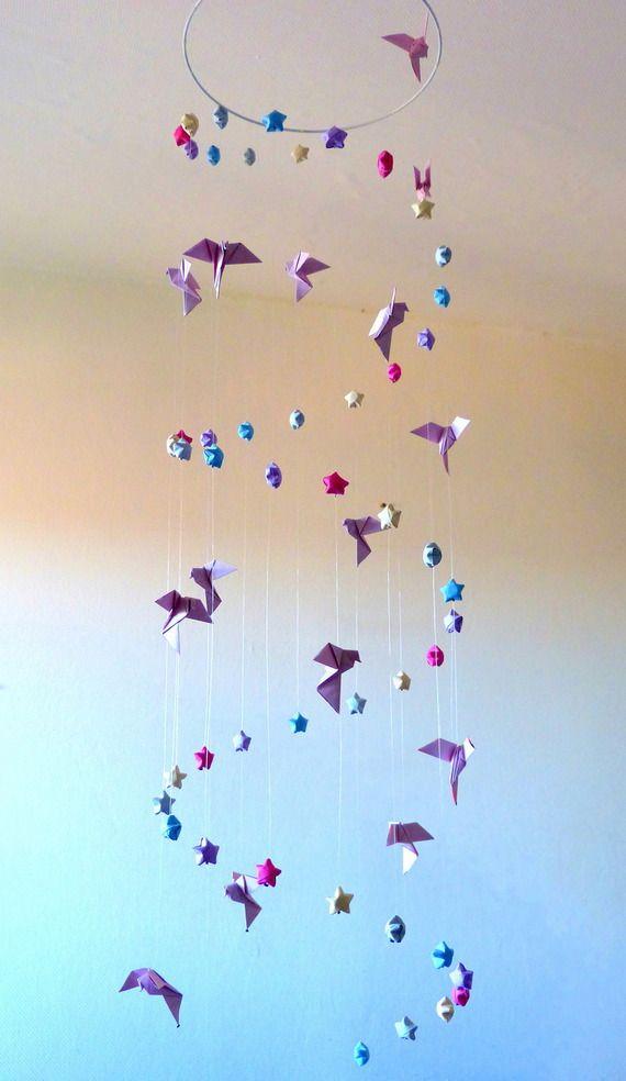 """Grand Mobile pour bébé origami """"L'envol jusqu'aux étoiles"""" http://mademoiselle-origami.alittlemarket.com"""