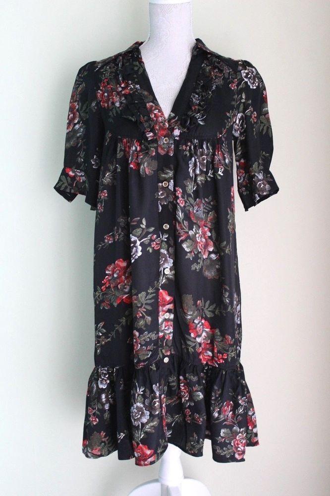 Size M MANGO SUIT Dress Pretty Black Floral Short Sleeve V-Neck Boho VGC (115)