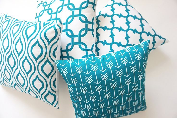 Cotton Throw Pillows Cover for Couch Set of 4 Teal Accent Pattern