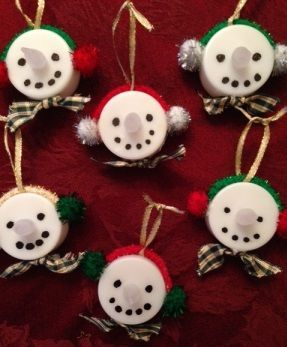 easy Christmas ornament craft.. make Frosty from a tealight!