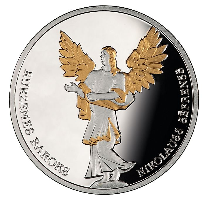 Latvijas Banka is issuing a new 5 euro collector silver coin with gilded elements, dedicated to the Baroque art style in Courland (Kurzeme):  Reverse The angel from the altar of the Lestene Church is the central motif. The semi-circled inscriptions KURZEMES BAROKS (Baroque of Courland; on the left) and NIKOLAUSS SĒFRENSS (Nicolaus Söffrens; on the right) encompass the design in the lower part of the reverse.