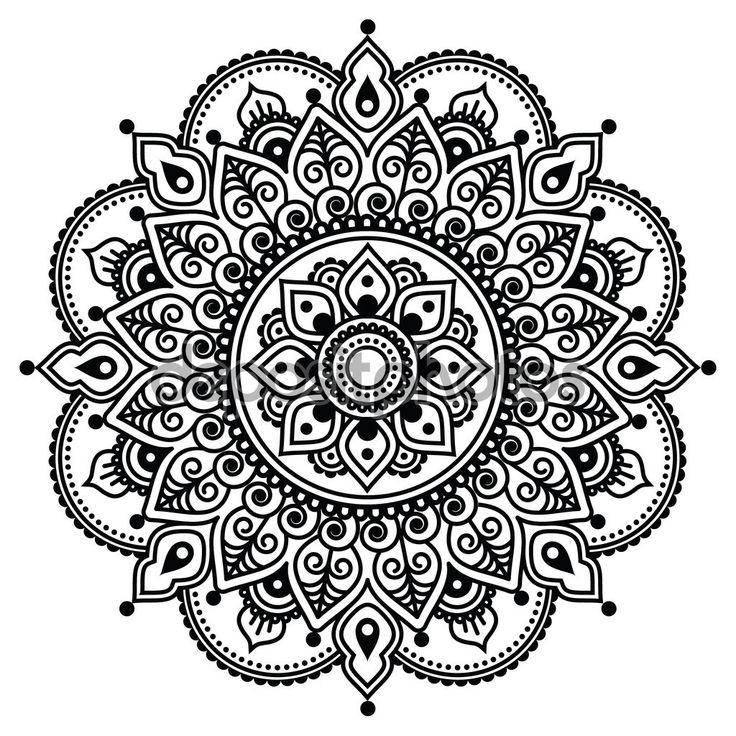 Mehndi, patrón de tatuaje de Henna indio o fondo - Ilustración de stock: 72513185