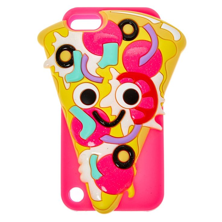 Glitzy Pizza iPod Case   Glitzy Pizza iPod case looks good enough to eat! The hot pink phone case is decorated with a large 3D pizza slice glitter details.