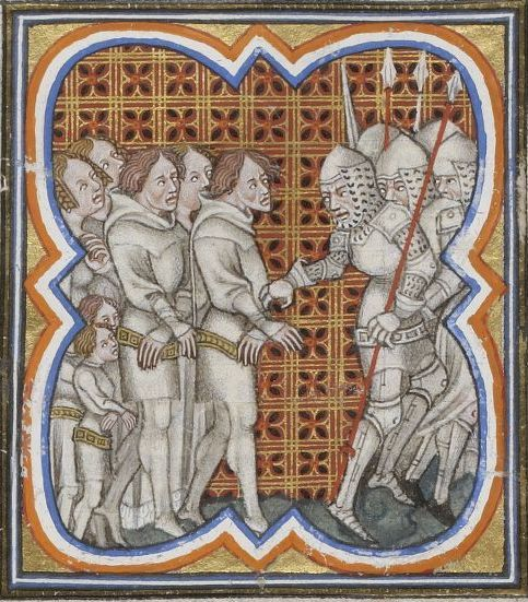 """The Jacquerie was a popular revolt by peasants that took place in northern France in the early summer of 1358 during the Hundred Years' War. The revolt was centered in the valley of the Oise north of Paris and was suppressed after a few weeks of violence. The word """"Jacquerie"""" (""""Jacques"""" or """"Jacques Bonhomme"""" – """"Jack Goodfellow"""")  became a synonym of peasant uprisings in general in both English and French. Illustration: Prisoners in an illuminated manuscript by Jean Froissart."""