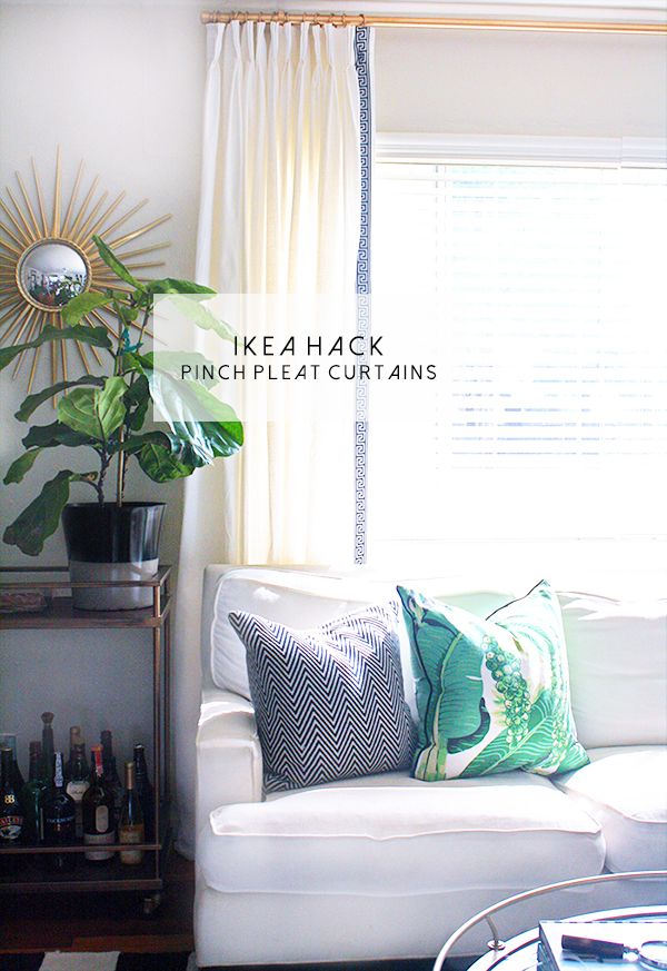 Ikea Hack: pinch pleat curtains. I love using the Ritva Curtains. They are linen and so easy to make into a classic and luxe pinch pleat curtain. I also love adding this greek key trim to add some contrast and sophistication.