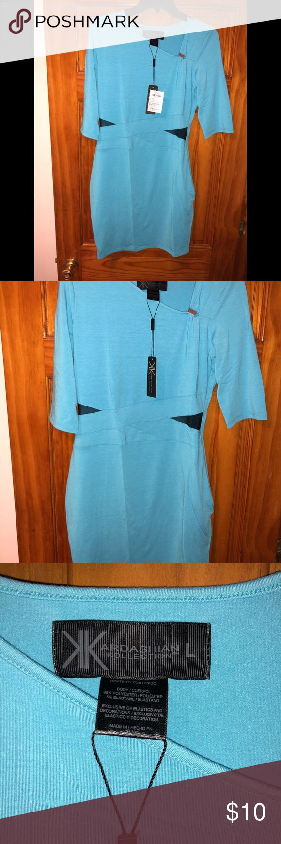 Kardashian Kollection - brand new dress with tags Brand new with tags - never been worn. Turquoise with mesh inserts in black. Body con dress with sleeves Kardashian Kollection Dresses
