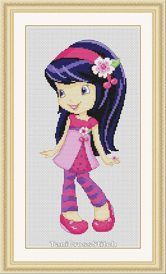 Strawberry Shortcake's friend, Cherry Jam, by TaniCrossStitch