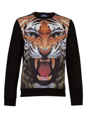 Black Tiger Mesh Printed Sweatshirt - Mens Hoodies & Sweatshirts  - Clothing