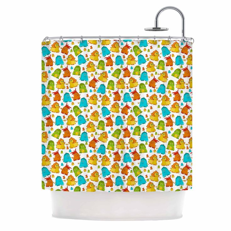 "Kess InHouse Alisa Drukman ""Good Monsters"" Blue Kids Shower Curtain"