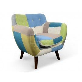 Oskar  Multicolor Patch Work Arm Chair