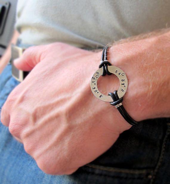 Custom Mens Leather Bracelet Latitude GPS hand stamped washer bracelet