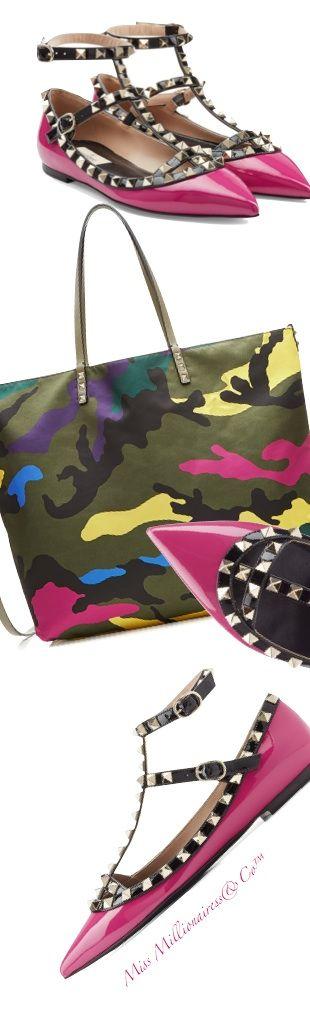 Valentino RockStud Ballerinas + Valentino Camo Shopper Bag - Accessories Show™