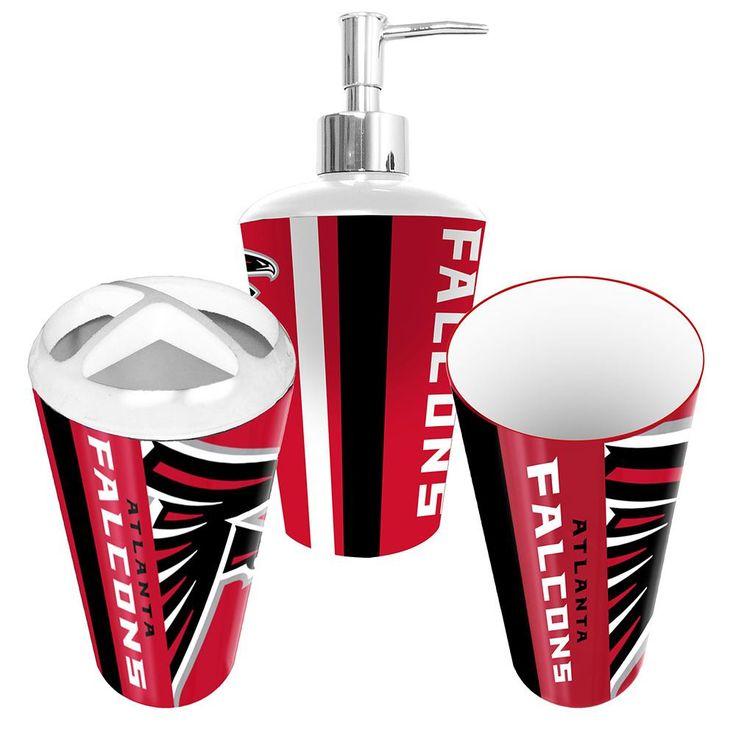 Atlanta falcons nfl bath tumbler toothbrush holder soap for Bathroom tumbler sets