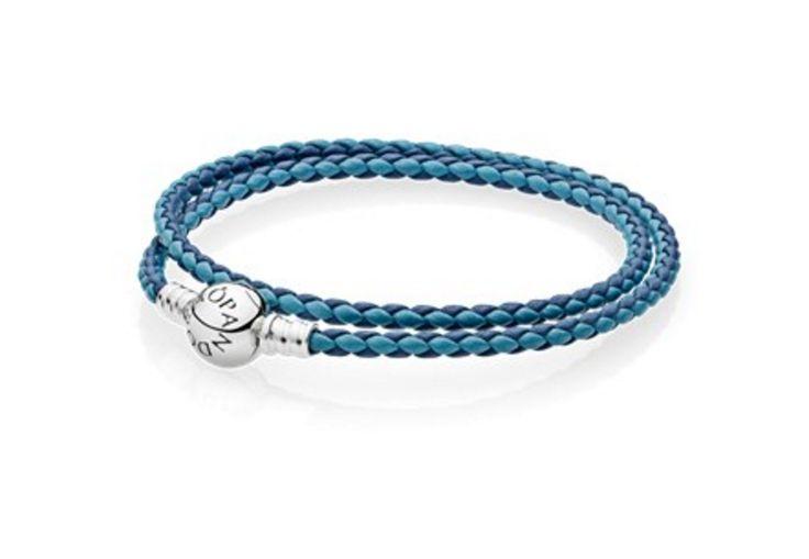 Pandora Moments Double Woven Leather Bracelet - Blue Mix