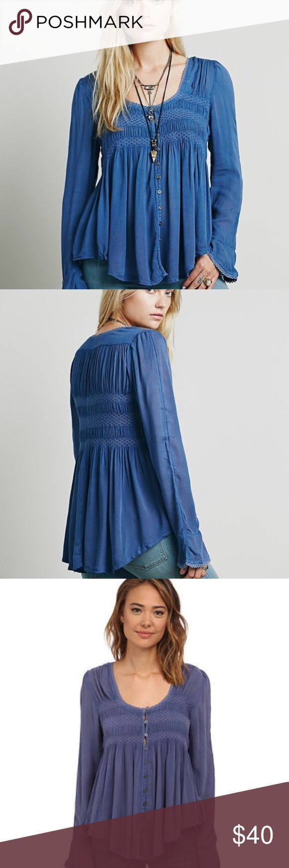 Free People Blue Bird Smocked Top Free People Blue Bird gauzy smocked swing button down top in Washed Indigo.  Features crochet trim and raw hem.  100% rayon.  In excellent condition. Free People Tops