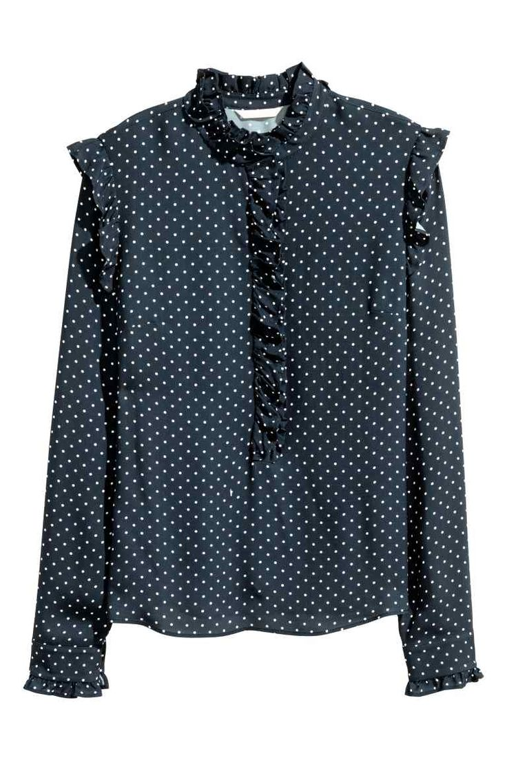 Frilled blouse - Dark blue/Spotted - Ladies | H&M GB