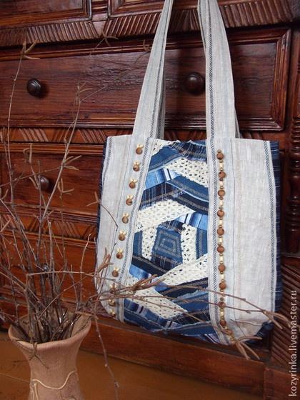 """Сумка""""Джинсовый бохо"""" - синий,белый,сумка женская,Сумка авторская,сумка большая"""