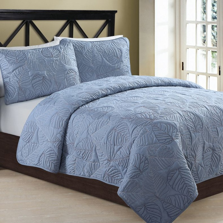 Simple Blue King Size Quilt Set Luxury Comforter Sets