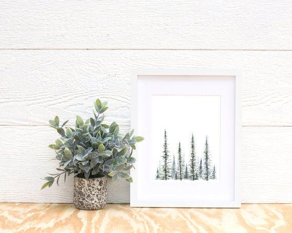 Pine Tree Print tree art tree painting by FoxHollowDesignCo