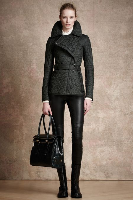 quilted look and skinny leather leggings - love! #belstaff #prefall13