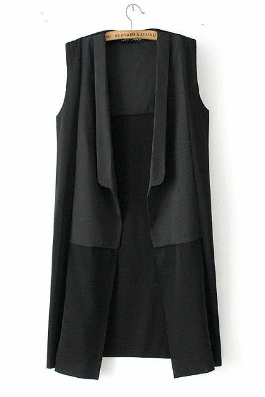 Skip the blazer and layer this sleek vest over a crisp collared shirt | Black Sleeveless Long Vest