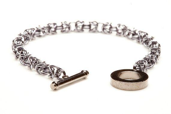 Black Ice Aluminium Byzantine Chainmaille Bracelet #handmade