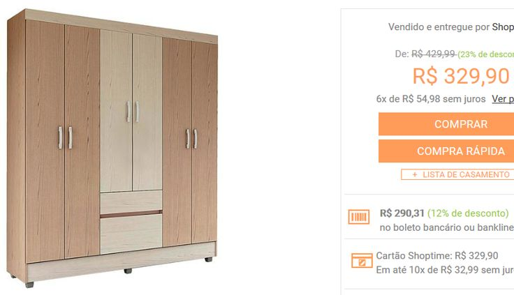 Guarda-roupa 6 Portas Flash 2 Gavetas Avelã/castanho Demobile << R$ 29031 >>