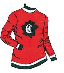 1910-1911  Le club Canadiens De Montréal adopte un chandail rouge décoré d'une feuille d'érable verte sur laquelle on a inscrit un «C» et un «A», pour Canadien et Athlétique. Go Habs Go !!