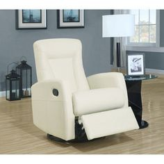 Monarch Marti Leather Swivel Recliner Ivory - I 8082IV