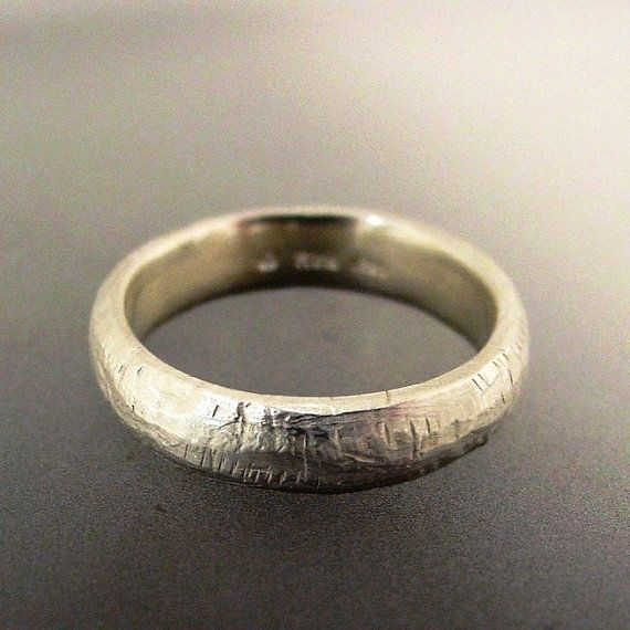 Mens Silver Wedding Ring Rustic Texture by PatrickIrlaJewelry, $110.00