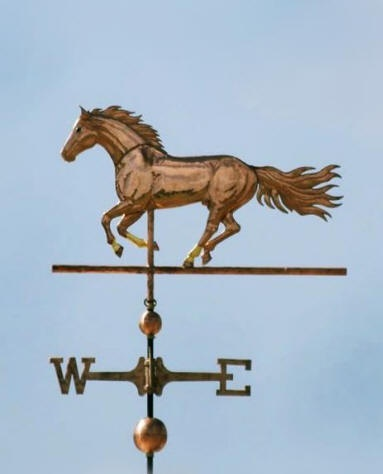 Running Stallion Horse Weather Vane  by West Coast Weather Vanes.  We used optional gold leaf to match the markings on the horse's face and socks.