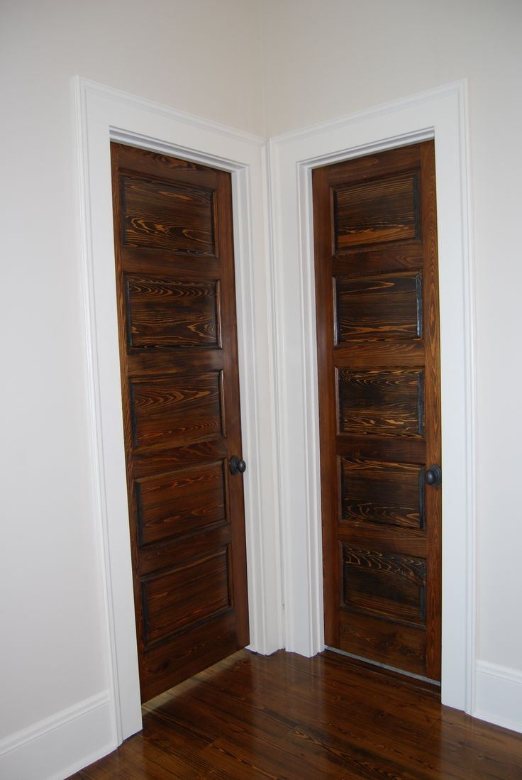 White interior doors with stained wood trim - Stained 5 Panel Wood Doors With White Trim And Black Hardware