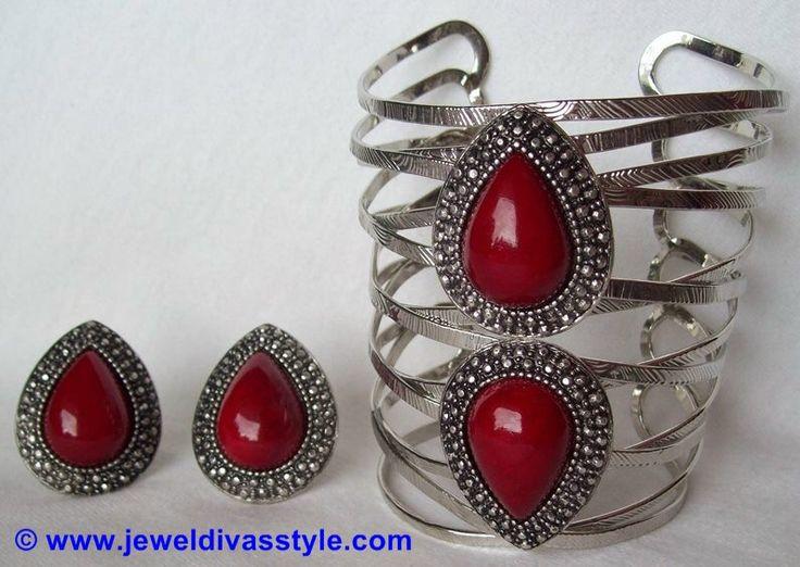 Lovisa teardrop rings and my version of the Samantha Wills bohemiam bardot lace up cuff in red. - http://jeweldivasstyle.com/designer-inspired-how-to-make-your-own-version-of-samantha-wills-bohemian-bardot-cuff/