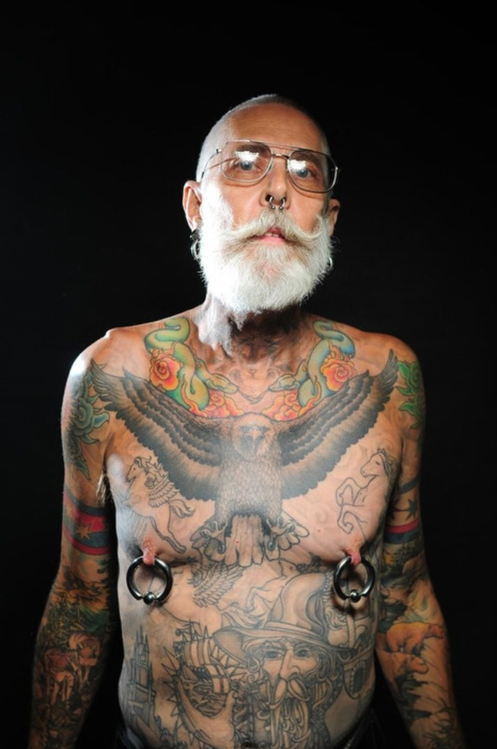 Cool Full Body Tattoos. Cool Old Guy!