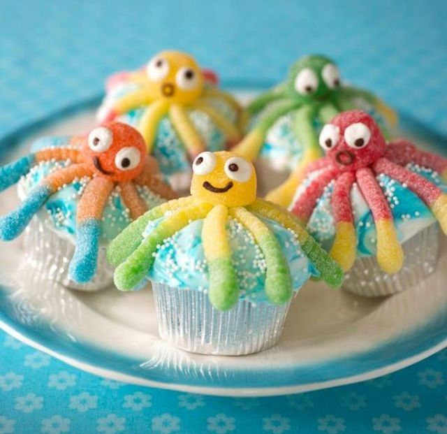 Octopus Cupcakes for kids birthday parties :)