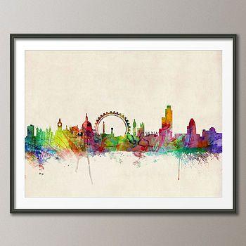 London City Skyline Art Print Poster