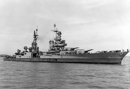 USS Indianapolis (CA-35) is shown off the Mare Island Navy Yard, in Northern California, July 10, 1945, after her final overhaul and repair of combat damage and just 20 days before she was sunk. (U.S. Navy photo)