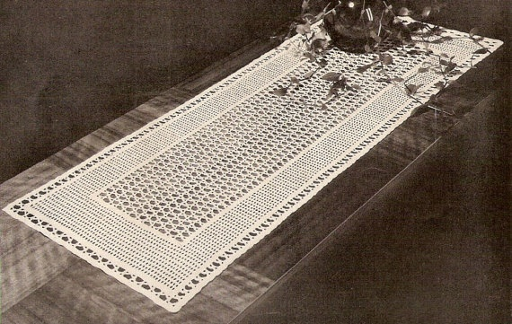 Vintage Lacet Crochet Table Runner Pattern PDF File by ArtLaces, $5.95